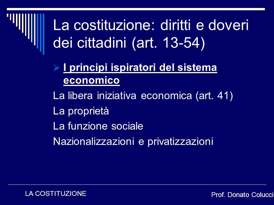 I principi ispiratori del sistema economico La libera iniziativa economica (art. 41) La proprietà La funzione sociale Nazionalizzazioni e privatizzazi