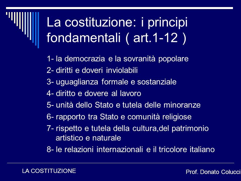 1- la democrazia e la sovranità popolare 2- diritti e doveri inviolabili 3- uguaglianza formale e sostanziale 4- diritto e dovere al lavoro 5- unità d