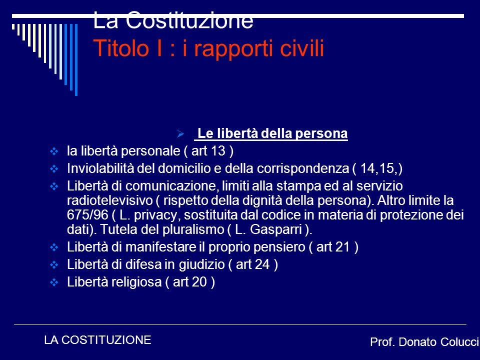 Le libertà della persona la libertà personale ( art 13 ) Inviolabilità del domicilio e della corrispondenza ( 14,15,) Libertà di comunicazione, limiti