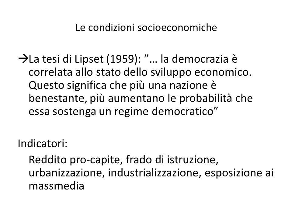 Le condizioni socioeconomiche La tesi di Lipset (1959): … la democrazia è correlata allo stato dello sviluppo economico.