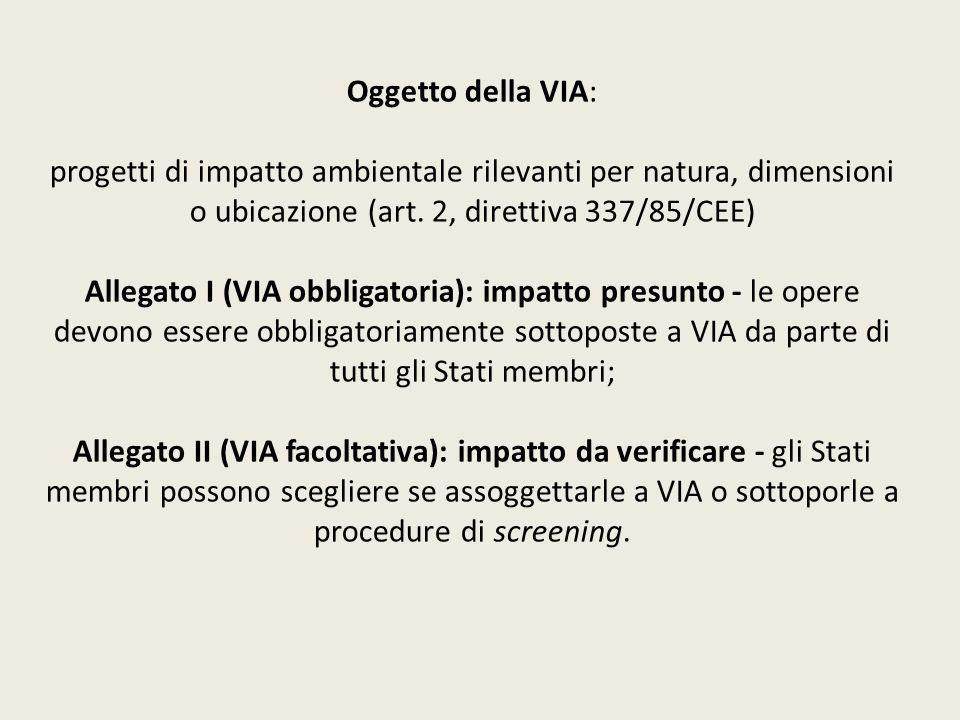Oggetto della VIA: progetti di impatto ambientale rilevanti per natura, dimensioni o ubicazione (art. 2, direttiva 337/85/CEE) Allegato I (VIA obbliga