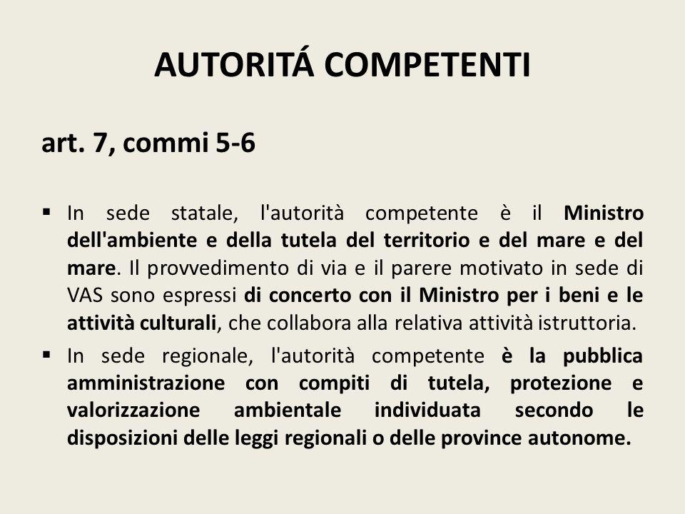 AUTORITÁ COMPETENTI art. 7, commi 5-6 In sede statale, l'autorità competente è il Ministro dell'ambiente e della tutela del territorio e del mare e de