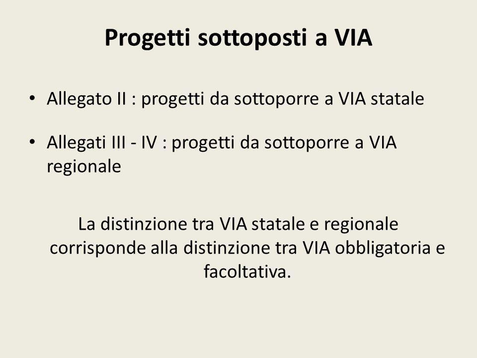 Progetti sottoposti a VIA Allegato II : progetti da sottoporre a VIA statale Allegati III - IV : progetti da sottoporre a VIA regionale La distinzione