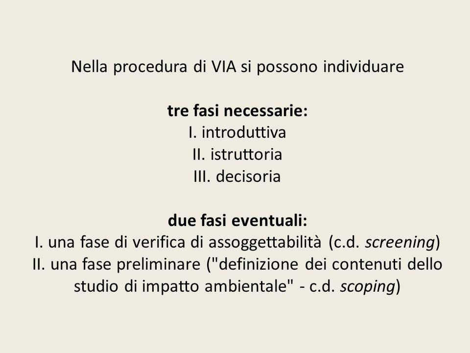 Nella procedura di VIA si possono individuare tre fasi necessarie: I. introduttiva II. istruttoria III. decisoria due fasi eventuali: I. una fase di v