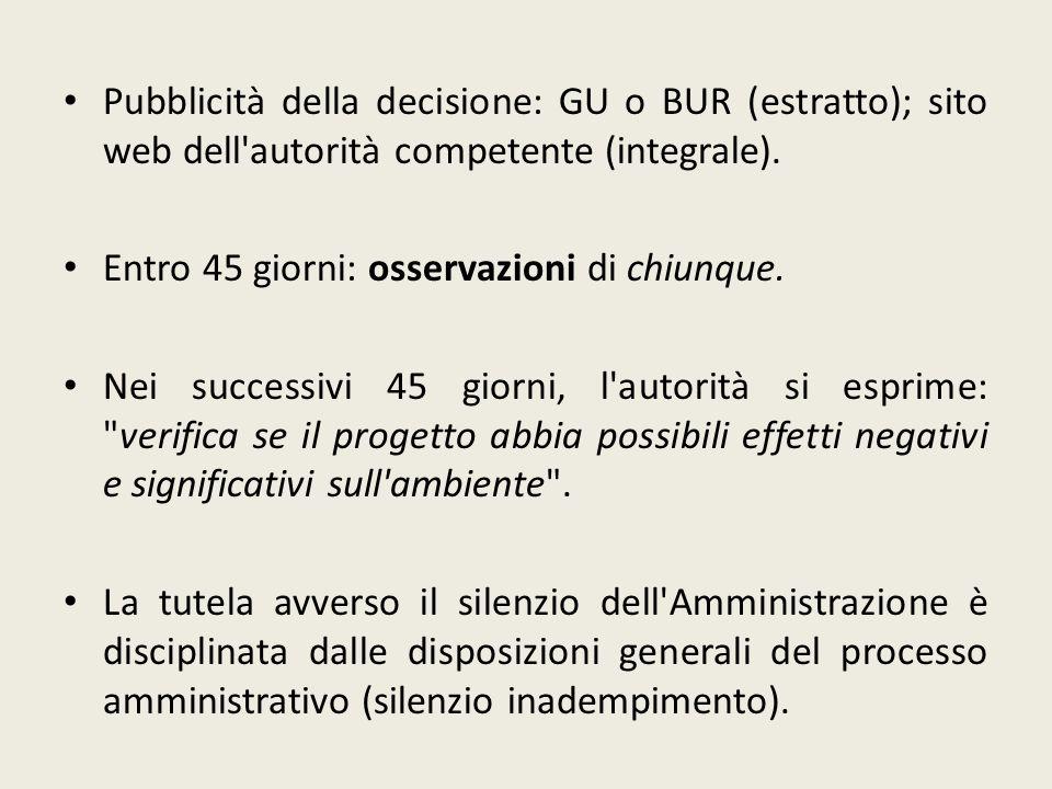 Pubblicità della decisione: GU o BUR (estratto); sito web dell'autorità competente (integrale). Entro 45 giorni: osservazioni di chiunque. Nei success