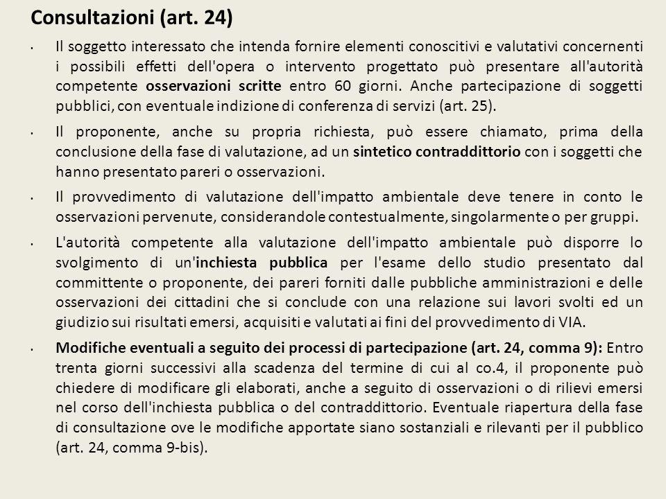 Consultazioni (art. 24) Il soggetto interessato che intenda fornire elementi conoscitivi e valutativi concernenti i possibili effetti dell'opera o int