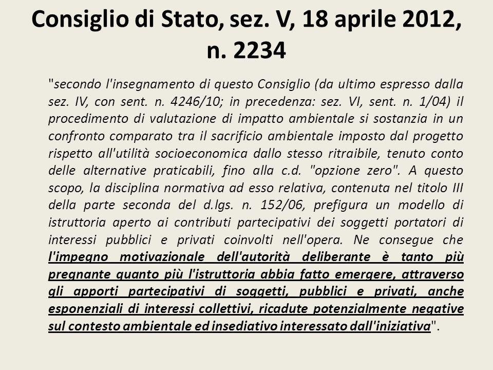 Consiglio di Stato, sez. V, 18 aprile 2012, n. 2234