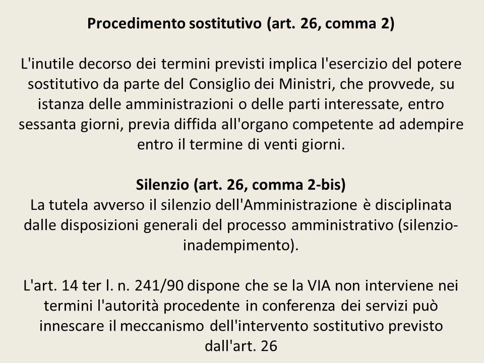 Procedimento sostitutivo (art. 26, comma 2) L'inutile decorso dei termini previsti implica l'esercizio del potere sostitutivo da parte del Consiglio d