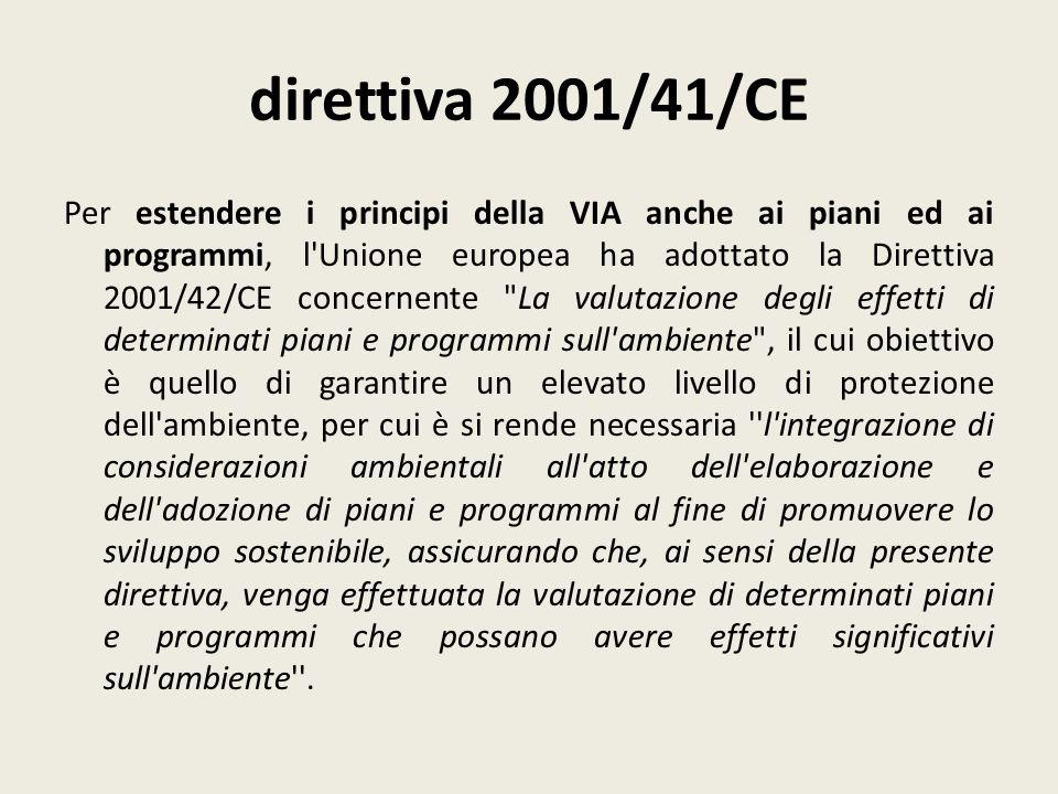direttiva 2001/41/CE Per estendere i principi della VIA anche ai piani ed ai programmi, l'Unione europea ha adottato la Direttiva 2001/42/CE concernen