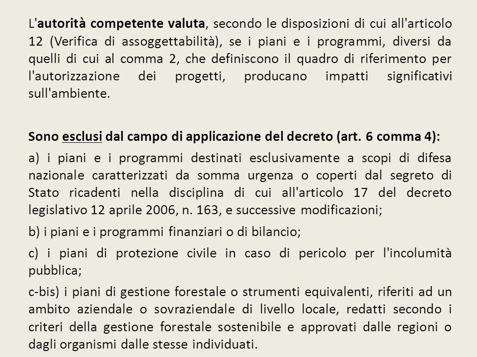 L'autorità competente valuta, secondo le disposizioni di cui all'articolo 12 (Verifica di assoggettabilità), se i piani e i programmi, diversi da quel