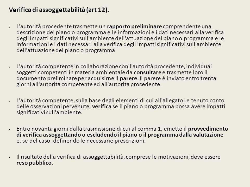 Verifica di assoggettabilità (art 12). L'autorità procedente trasmette un rapporto preliminare comprendente una descrizione del piano o programma e le