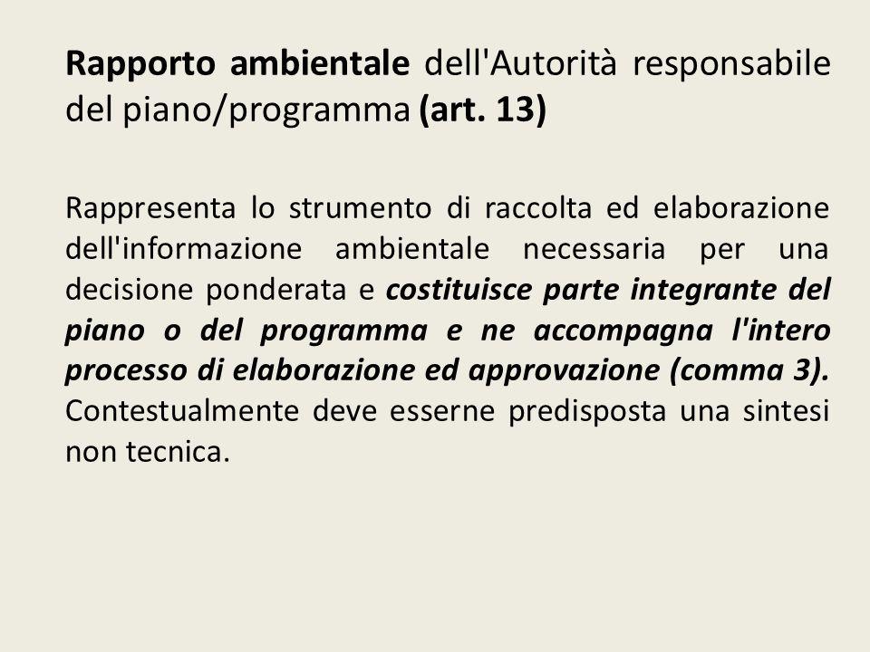 Rapporto ambientale dell'Autorità responsabile del piano/programma (art. 13) Rappresenta lo strumento di raccolta ed elaborazione dell'informazione am