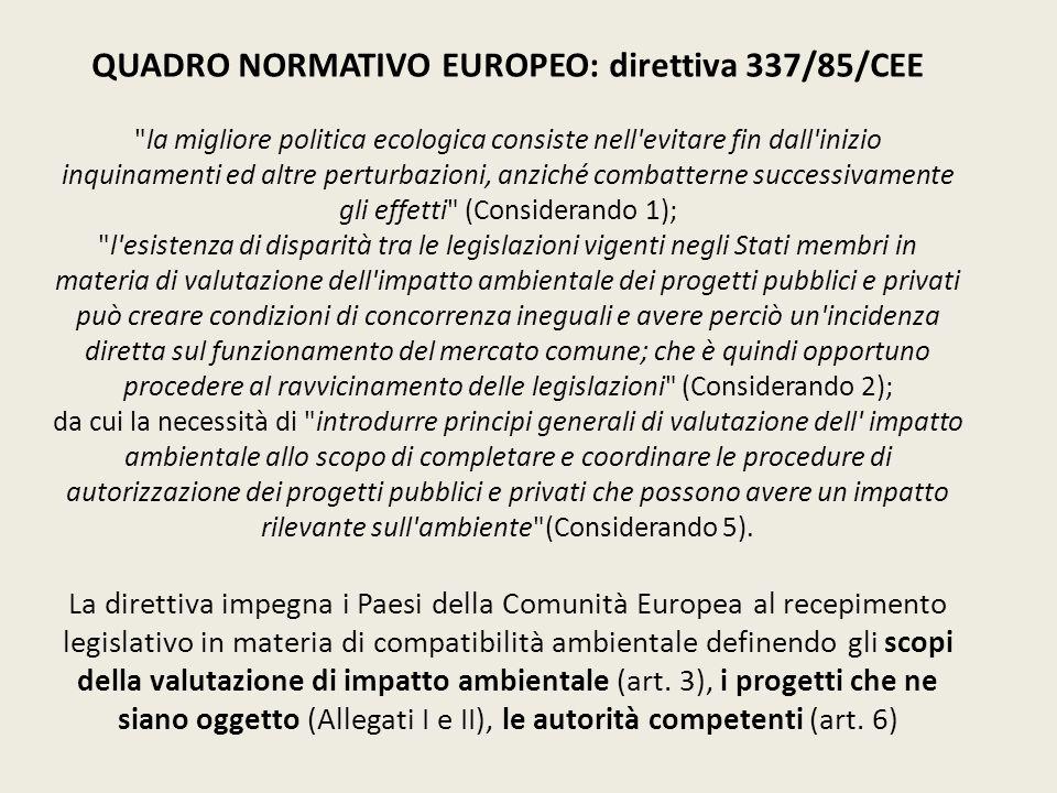 QUADRO NORMATIVO EUROPEO: direttiva 337/85/CEE