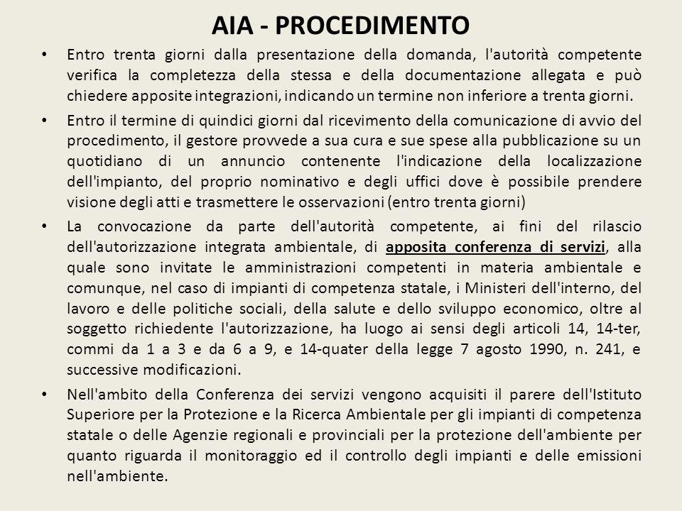 AIA - PROCEDIMENTO Entro trenta giorni dalla presentazione della domanda, l'autorità competente verifica la completezza della stessa e della documenta