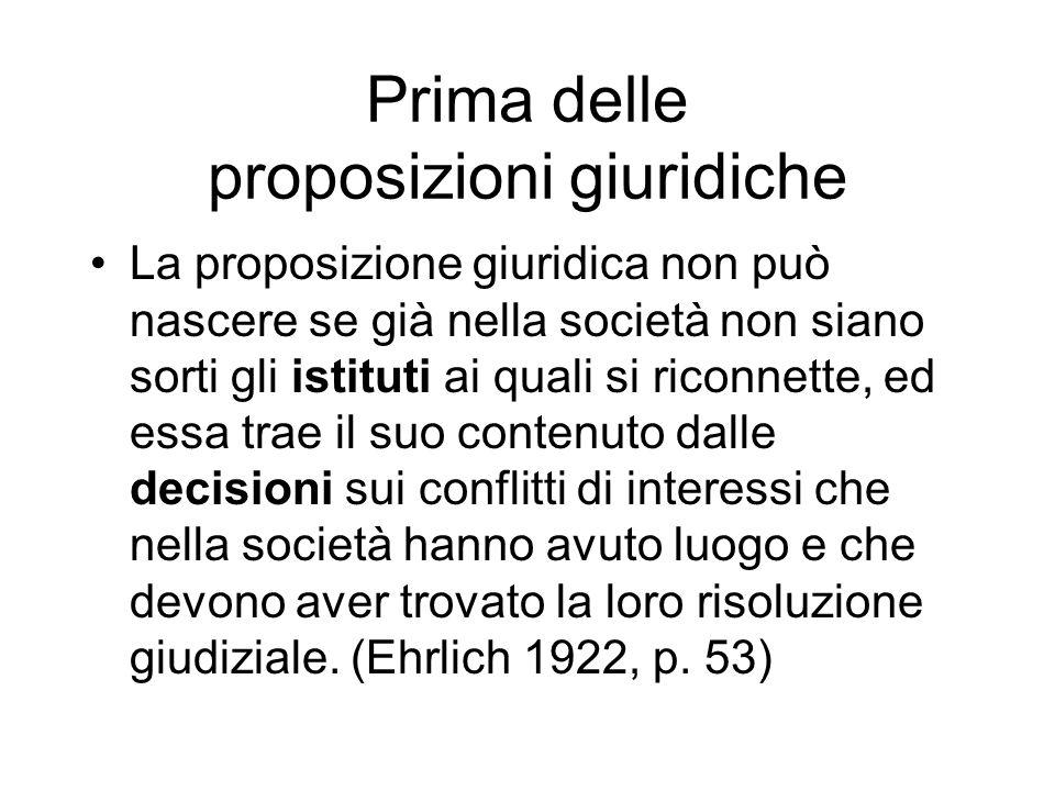 Prima delle proposizioni giuridiche La proposizione giuridica non può nascere se già nella società non siano sorti gli istituti ai quali si riconnette
