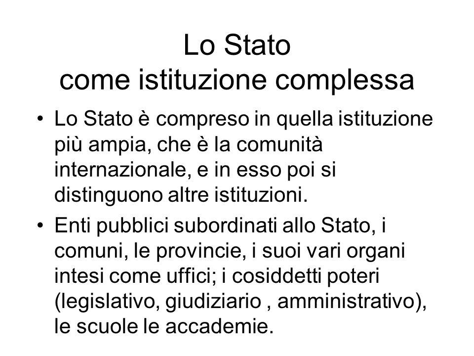 Lo Stato come istituzione complessa Lo Stato è compreso in quella istituzione più ampia, che è la comunità internazionale, e in esso poi si distinguon