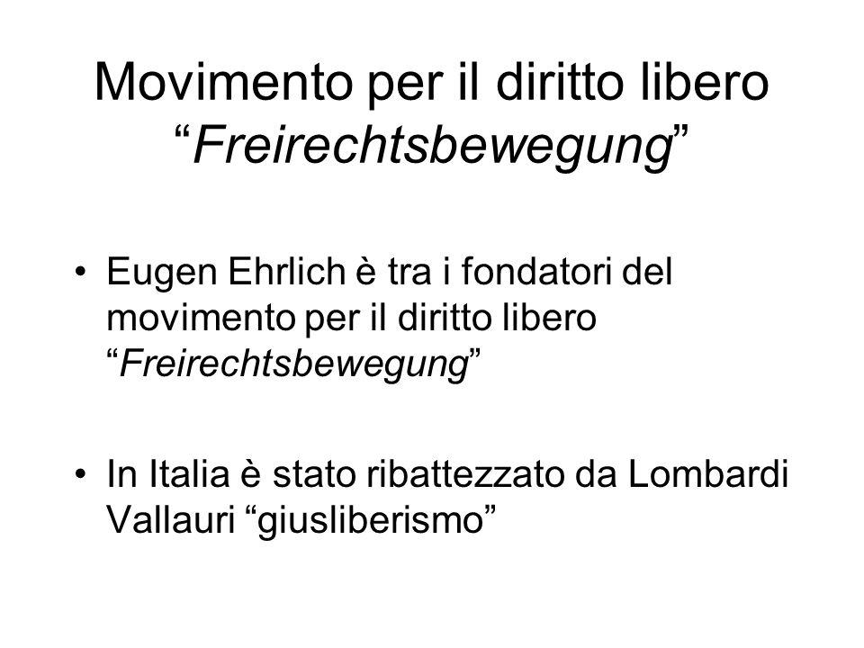 Movimento per il diritto liberoFreirechtsbewegung Eugen Ehrlich è tra i fondatori del movimento per il diritto liberoFreirechtsbewegung In Italia è st