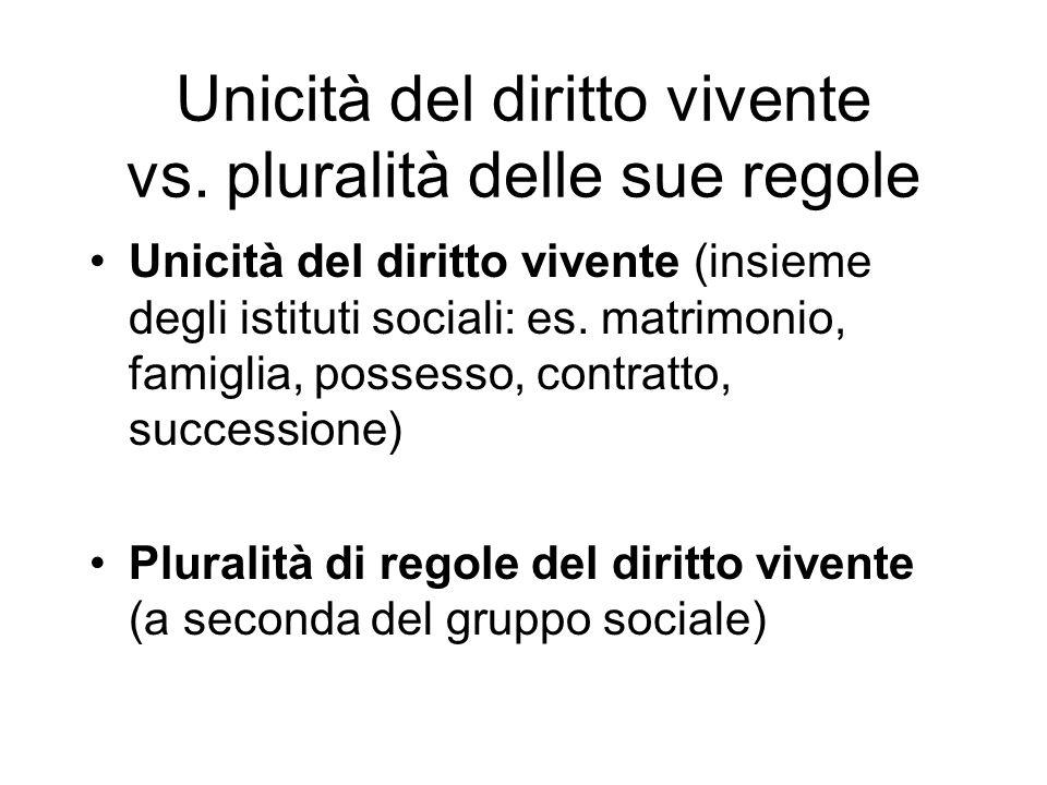 Unicità del diritto vivente vs. pluralità delle sue regole Unicità del diritto vivente (insieme degli istituti sociali: es. matrimonio, famiglia, poss