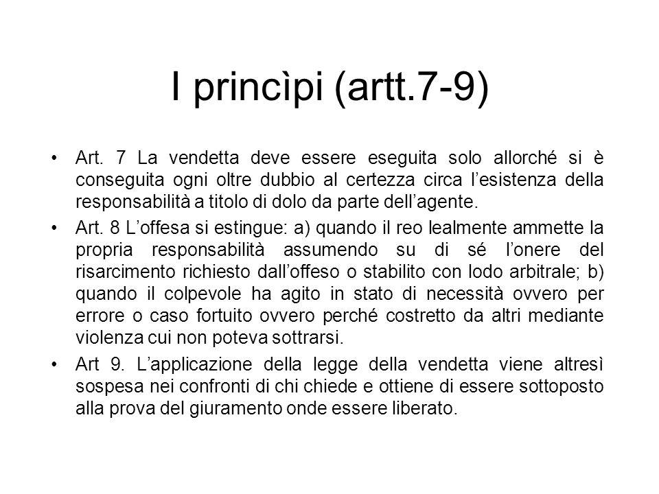I princìpi (artt.7-9) Art. 7 La vendetta deve essere eseguita solo allorché si è conseguita ogni oltre dubbio al certezza circa lesistenza della respo