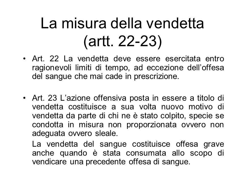 La misura della vendetta (artt. 22-23) Art. 22 La vendetta deve essere esercitata entro ragionevoli limiti di tempo, ad eccezione delloffesa del sangu