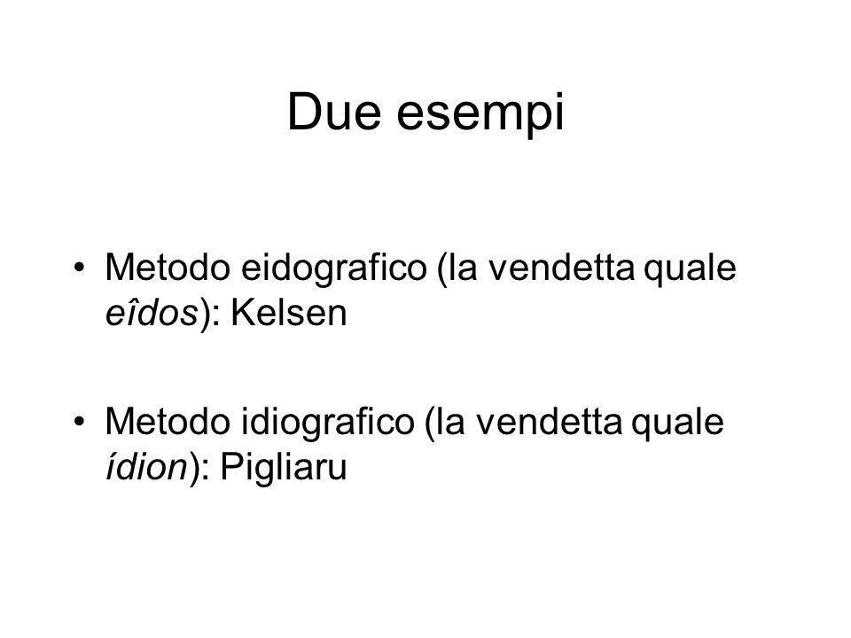 Due esempi Metodo eidografico (la vendetta quale eîdos): Kelsen Metodo idiografico (la vendetta quale ídion): Pigliaru