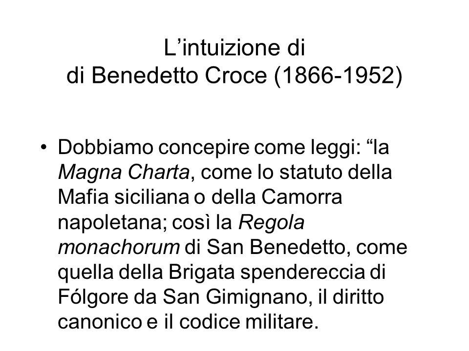 Lintuizione di di Benedetto Croce (1866-1952) Dobbiamo concepire come leggi: la Magna Charta, come lo statuto della Mafia siciliana o della Camorra na