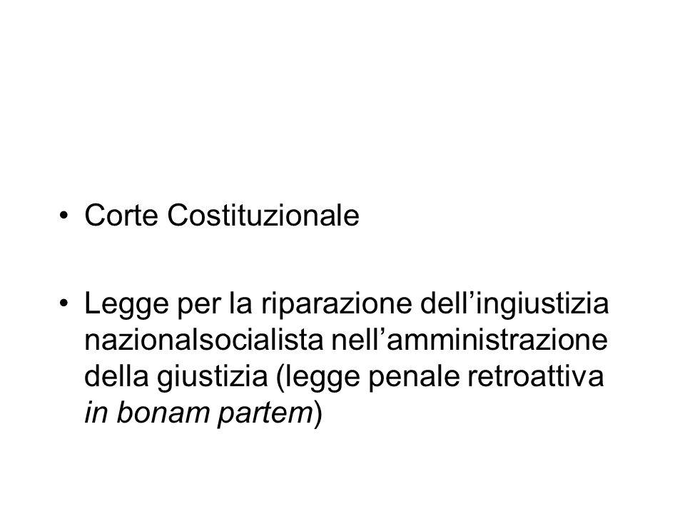 Corte Costituzionale Legge per la riparazione dellingiustizia nazionalsocialista nellamministrazione della giustizia (legge penale retroattiva in bona