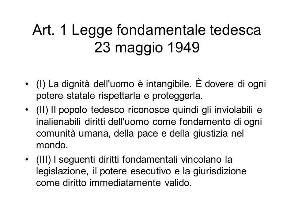 Art. 1 Legge fondamentale tedesca 23 maggio 1949 (I) La dignità dell'uomo è intangibile. È dovere di ogni potere statale rispettarla e proteggerla. (I