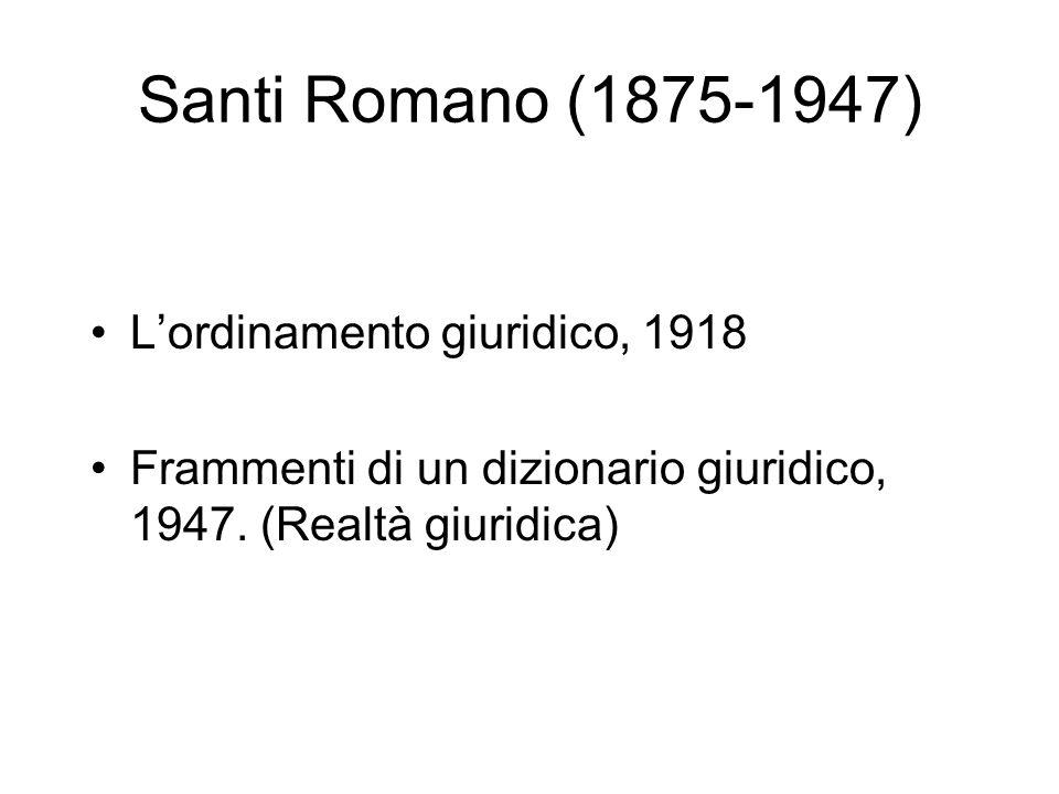 Santi Romano (1875-1947) Lordinamento giuridico, 1918 Frammenti di un dizionario giuridico, 1947. (Realtà giuridica)