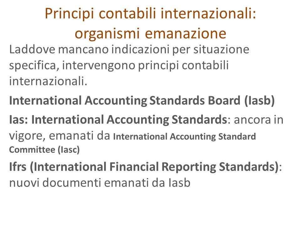 Principi contabili internazionali: organismi emanazione Laddove mancano indicazioni per situazione specifica, intervengono principi contabili internaz