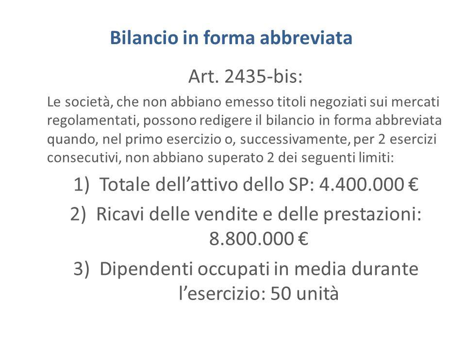 Bilancio in forma abbreviata Art. 2435-bis: Le società, che non abbiano emesso titoli negoziati sui mercati regolamentati, possono redigere il bilanci