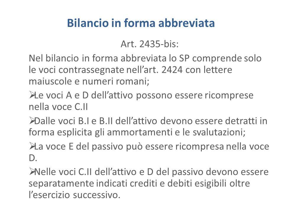 Bilancio in forma abbreviata Art. 2435-bis: Nel bilancio in forma abbreviata lo SP comprende solo le voci contrassegnate nellart. 2424 con lettere mai