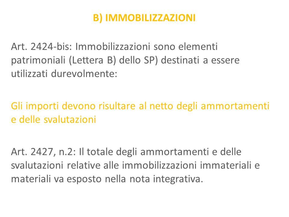 B) IMMOBILIZZAZIONI Art. 2424-bis: Immobilizzazioni sono elementi patrimoniali (Lettera B) dello SP) destinati a essere utilizzati durevolmente: Gli i
