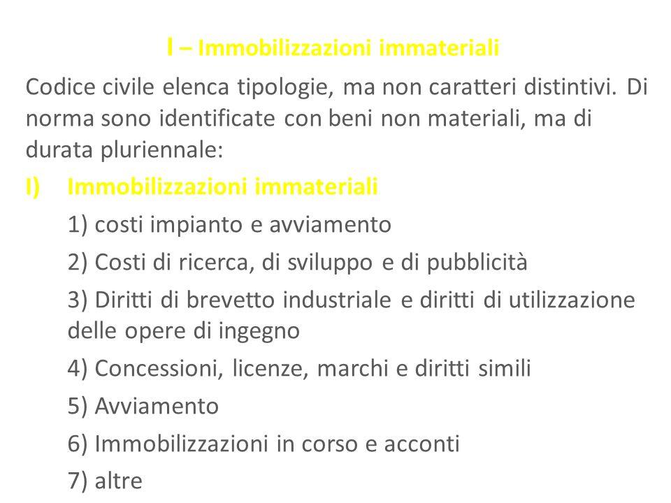 I – Immobilizzazioni immateriali Codice civile elenca tipologie, ma non caratteri distintivi. Di norma sono identificate con beni non materiali, ma di