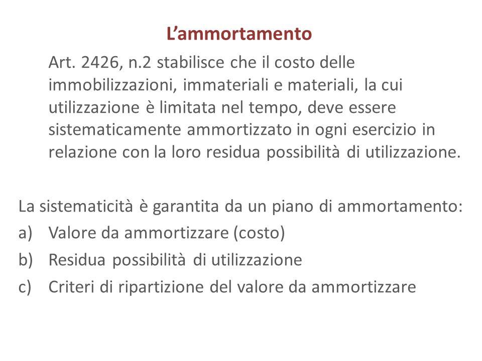 Lammortamento Art. 2426, n.2 stabilisce che il costo delle immobilizzazioni, immateriali e materiali, la cui utilizzazione è limitata nel tempo, deve