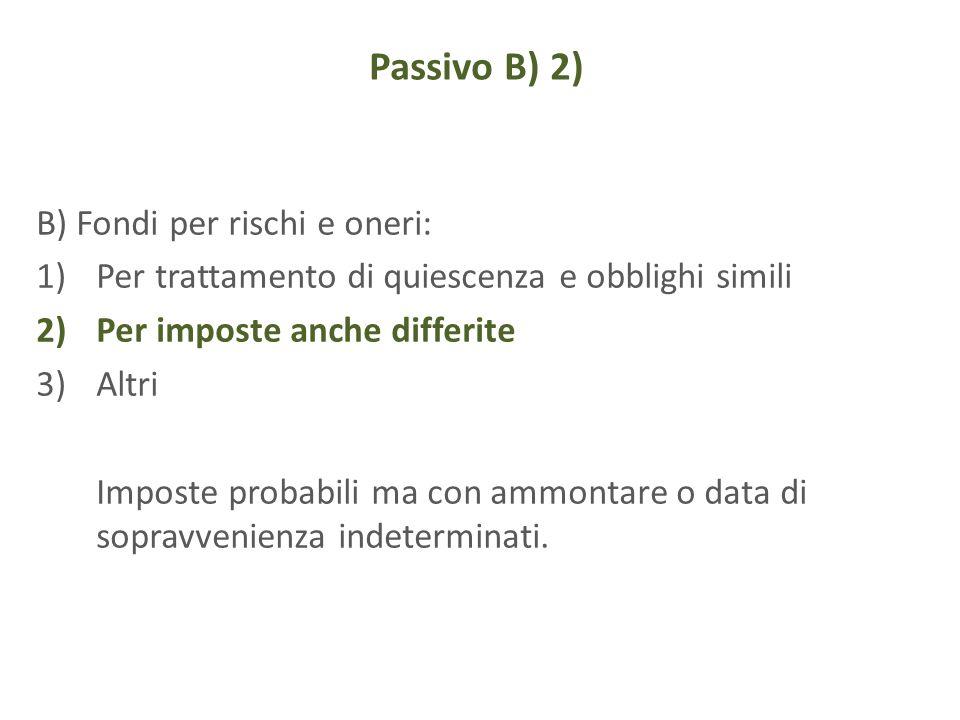 Passivo B) 2) B) Fondi per rischi e oneri: 1)Per trattamento di quiescenza e obblighi simili 2)Per imposte anche differite 3)Altri Imposte probabili m