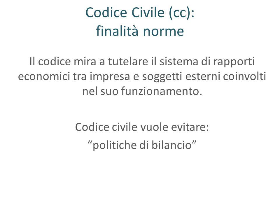 Codice Civile (cc): finalità norme Il codice mira a tutelare il sistema di rapporti economici tra impresa e soggetti esterni coinvolti nel suo funzion