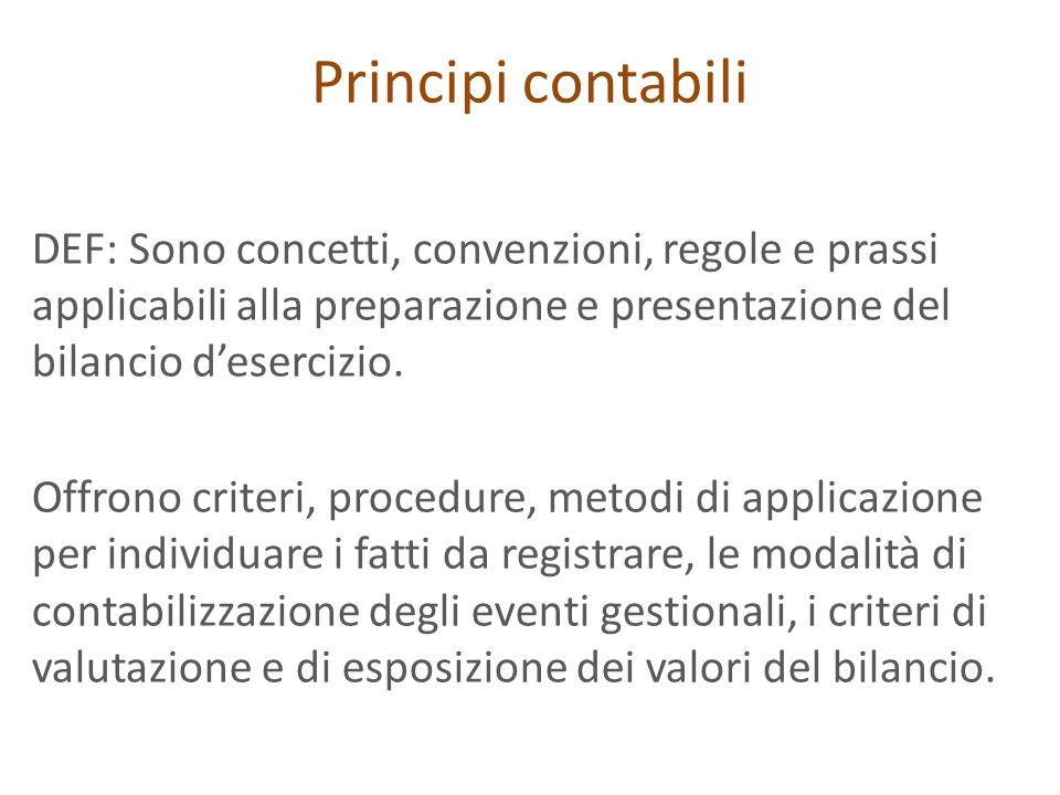 Principi contabili DEF: Sono concetti, convenzioni, regole e prassi applicabili alla preparazione e presentazione del bilancio desercizio. Offrono cri