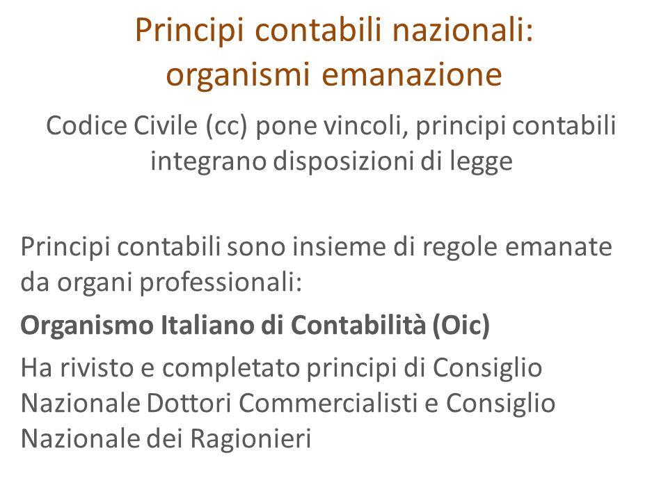 Principi contabili nazionali: organismi emanazione Codice Civile (cc) pone vincoli, principi contabili integrano disposizioni di legge Principi contab