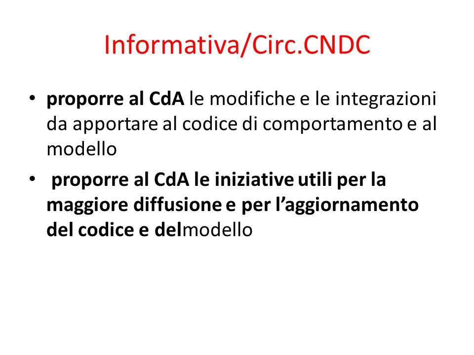 Informativa/Circ.CNDC proporre al CdA le modifiche e le integrazioni da apportare al codice di comportamento e al modello proporre al CdA le iniziativ