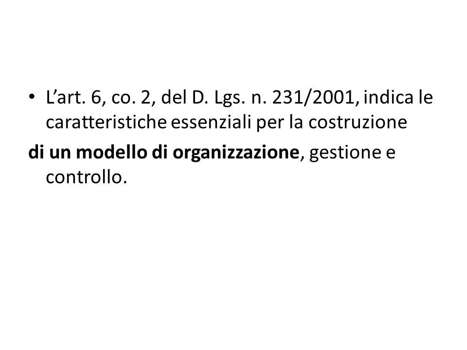 Lart. 6, co. 2, del D. Lgs. n. 231/2001, indica le caratteristiche essenziali per la costruzione di un modello di organizzazione, gestione e controllo