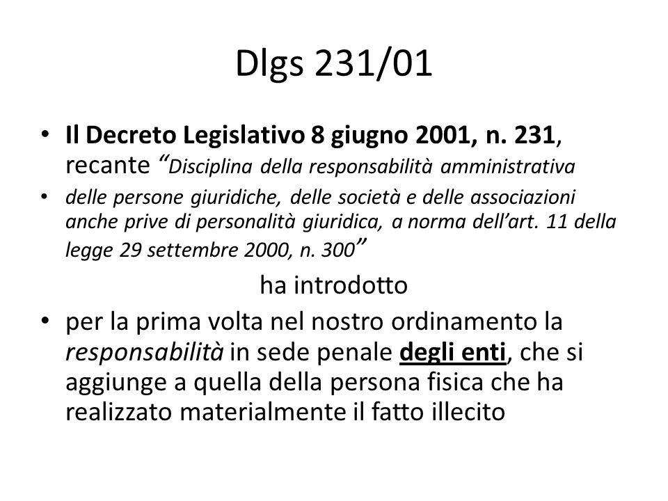 Dlgs 231/01 Il Decreto Legislativo 8 giugno 2001, n. 231, recante Disciplina della responsabilità amministrativa delle persone giuridiche, delle socie