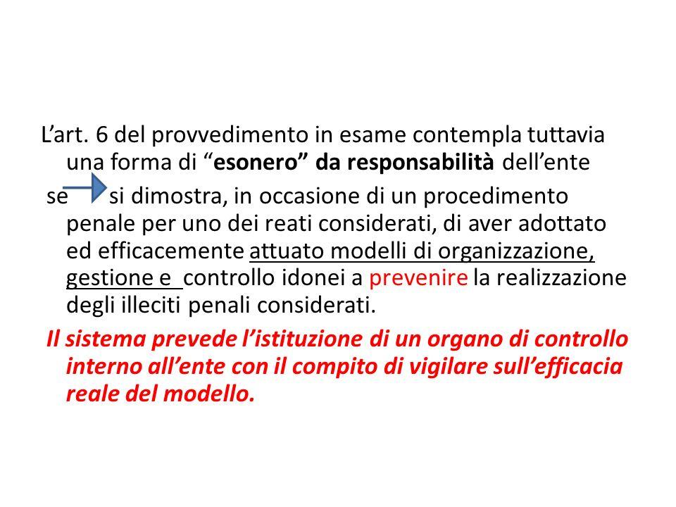 Lart. 6 del provvedimento in esame contempla tuttavia una forma di esonero da responsabilità dellente se si dimostra, in occasione di un procedimento