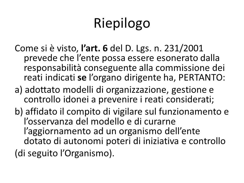 Riepilogo Come si è visto, lart. 6 del D. Lgs. n. 231/2001 prevede che lente possa essere esonerato dalla responsabilità conseguente alla commissione