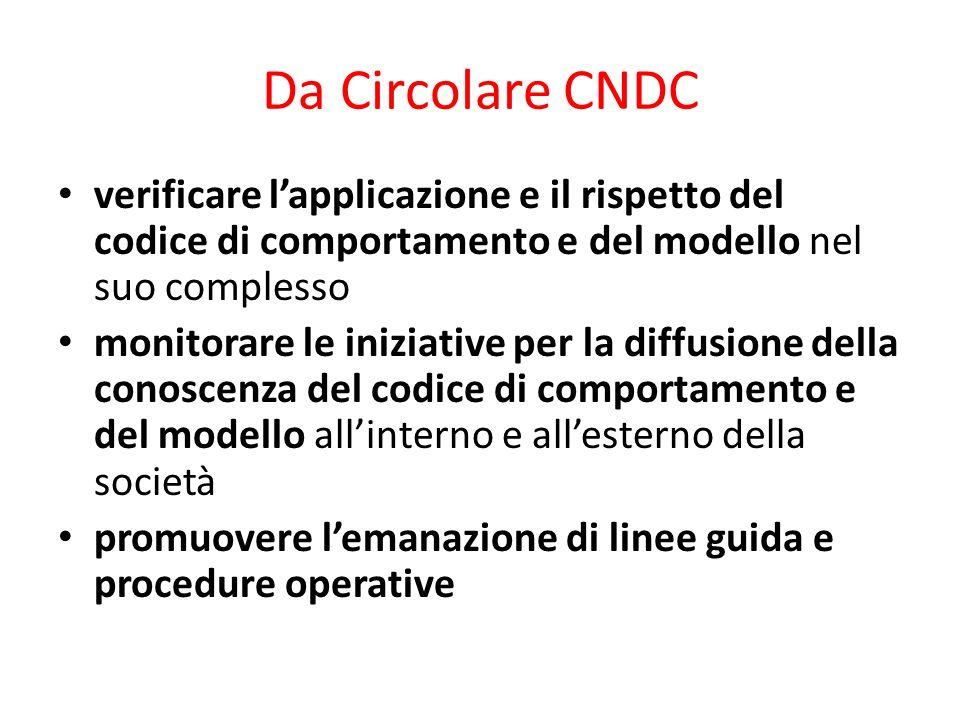 Da Circolare CNDC verificare lapplicazione e il rispetto del codice di comportamento e del modello nel suo complesso monitorare le iniziative per la d