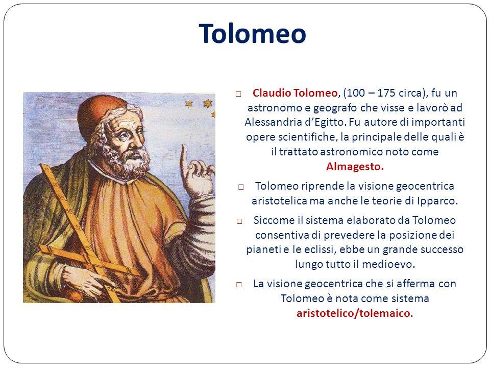 Claudio Tolomeo, (100 – 175 circa), fu un astronomo e geografo che visse e lavorò ad Alessandria dEgitto. Fu autore di importanti opere scientifiche,