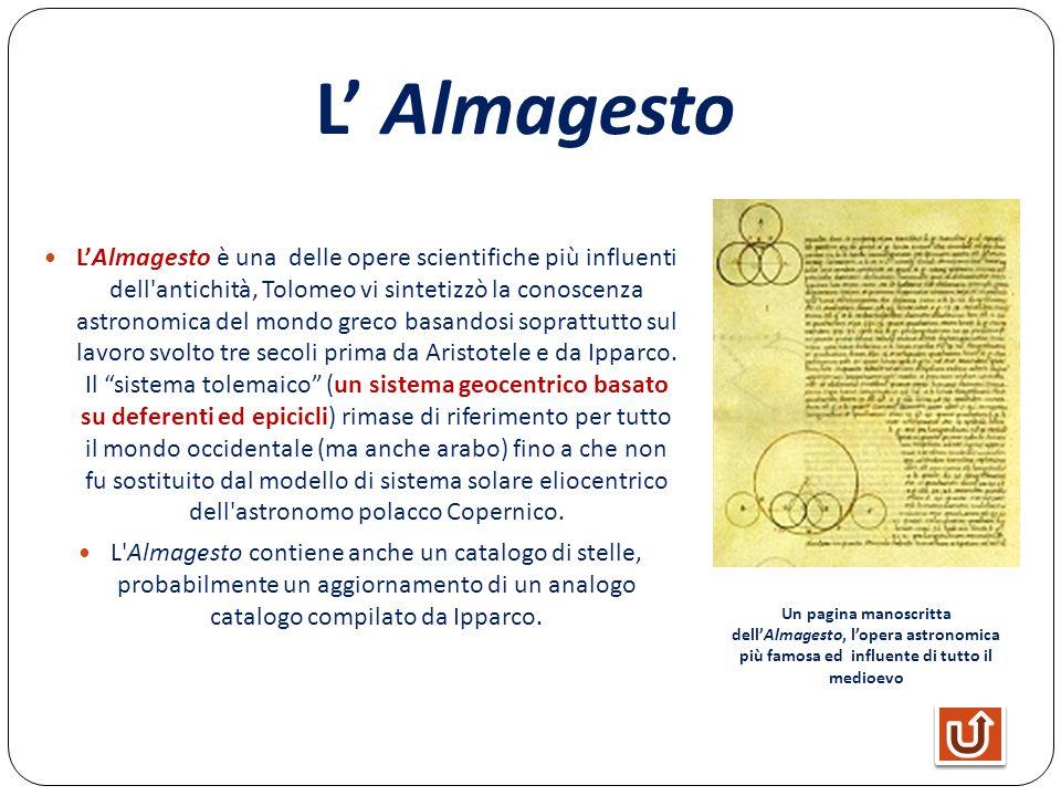 L Almagesto LAlmagesto è una delle opere scientifiche più influenti dell'antichità, Tolomeo vi sintetizzò la conoscenza astronomica del mondo greco ba