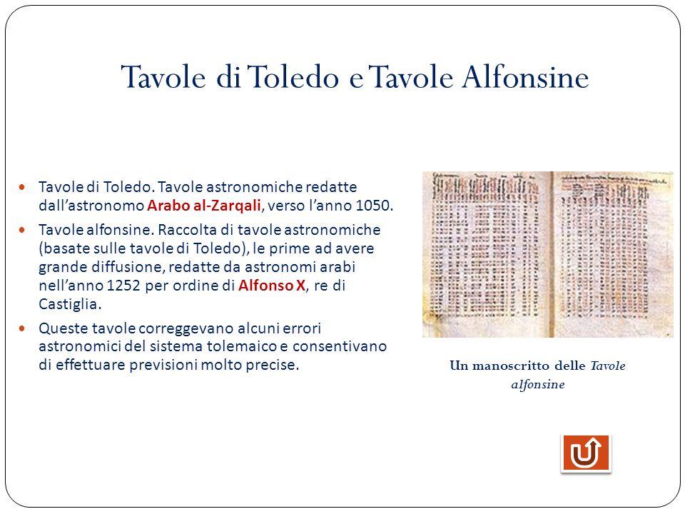 Tavole di Toledo e Tavole Alfonsine Tavole di Toledo. Tavole astronomiche redatte dallastronomo Arabo al-Zarqali, verso lanno 1050. Tavole alfonsine.