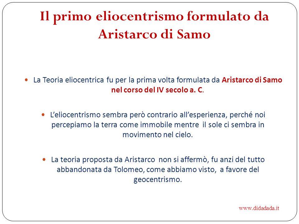 Il primo eliocentrismo formulato da Aristarco di Samo La Teoria eliocentrica fu per la prima volta formulata da Aristarco di Samo nel corso del IV sec