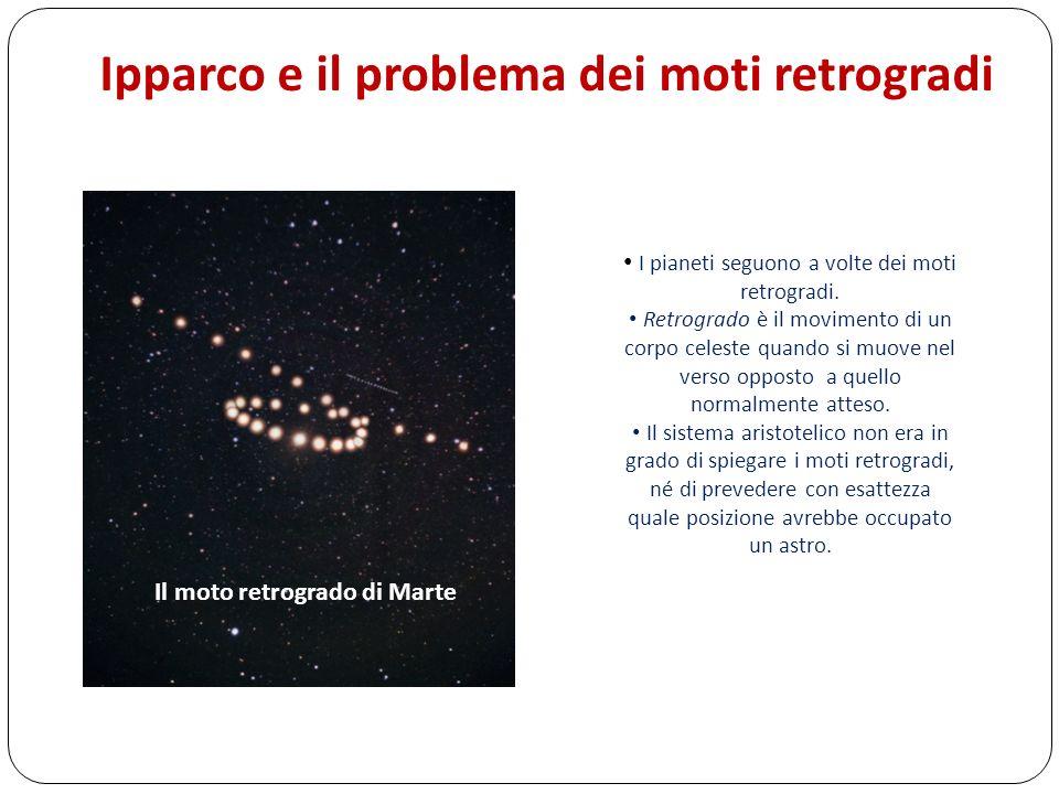 Ipparco e il problema dei moti retrogradi I pianeti seguono a volte dei moti retrogradi. Retrogrado è il movimento di un corpo celeste quando si muove